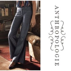 Anthropologie Elevenses Fraktur Chambray Pants